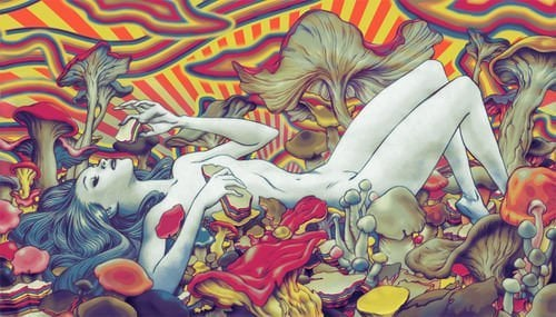 A beautiful girl lounges on a bed of psychedelic mushrooms in this trippy illustration by James Jean