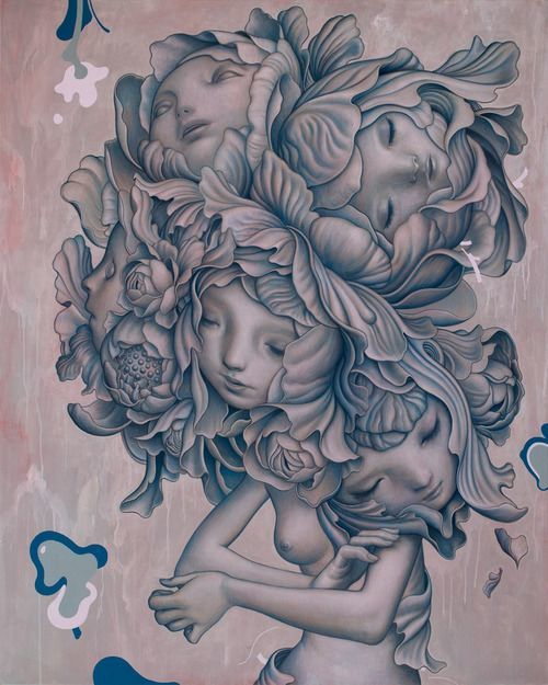 This beautiful fantasy painting by James Jean features a flower fairy in a dream like trance