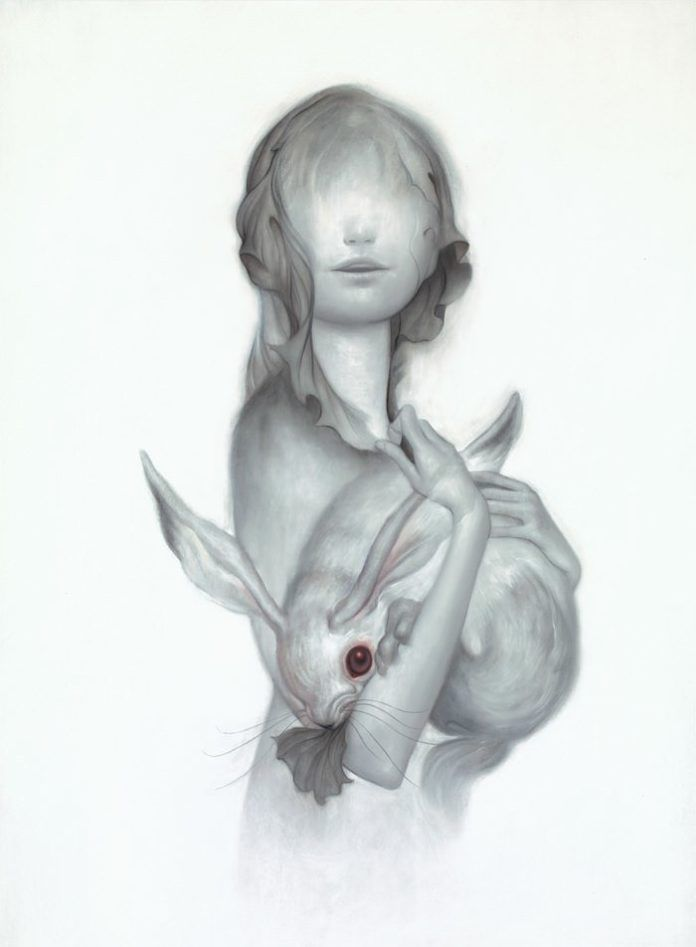 This spooky illustration by James Jean shows a girl with no eyes cradling an albino rabbit