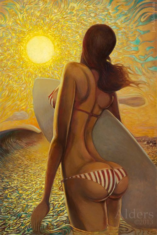 A sexy beach babe heads out for a surf in this caricature painting by Jay Alders called Wading for the Sun