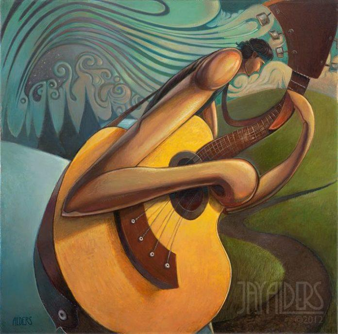 A surfer dude plays guitar beside a psychedelic sea in this painting by Jay Alders