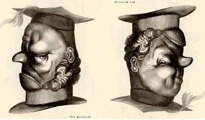 A teacher and student become one personality in this unique optical illusion by Rex Whistler