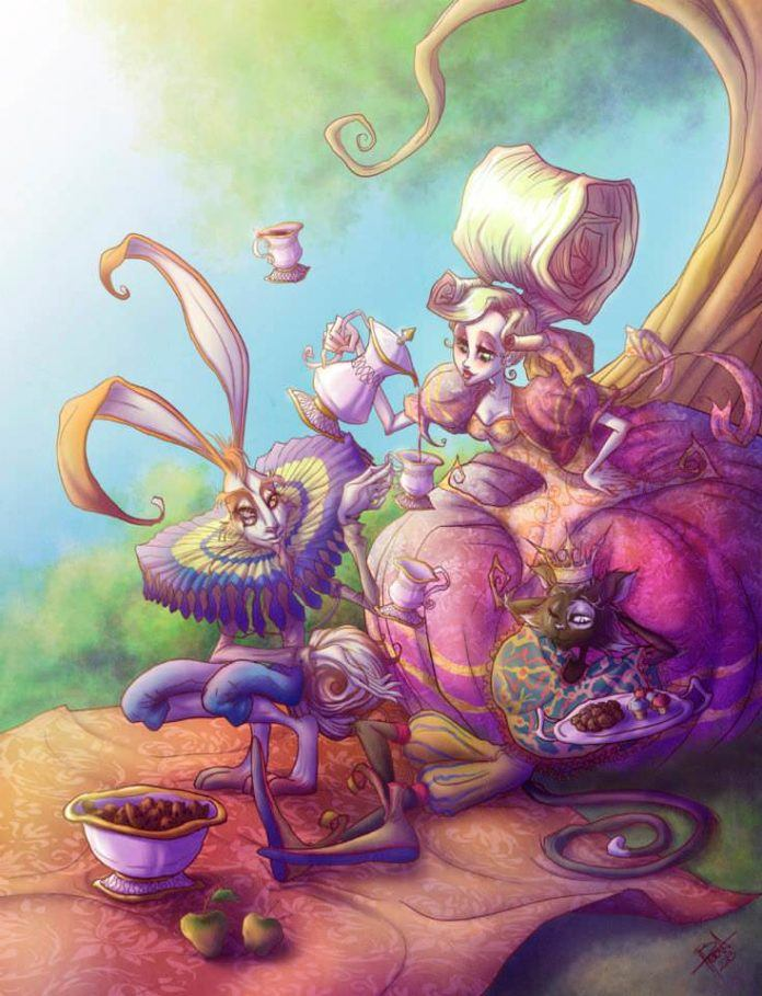 Alice from Lewis Carrolls Alice in Wonderland doesn't seem quite so chaste and innocent in this illustration by Irureta