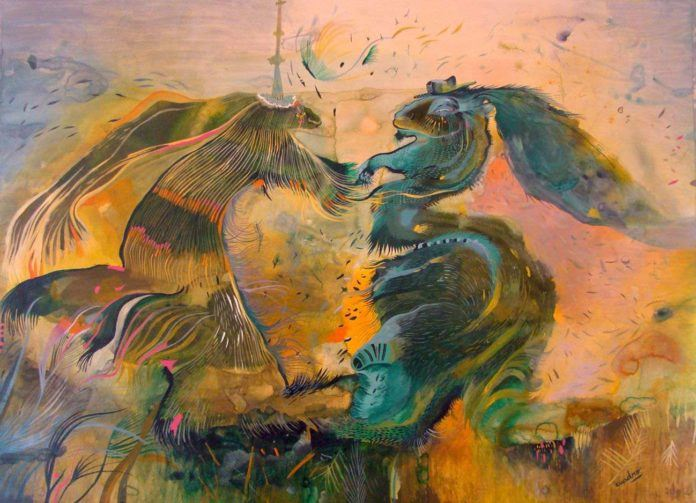 Artist Estela Cuadro explores the nature of love in this figurative painting that hints at an image of two hares holding hands