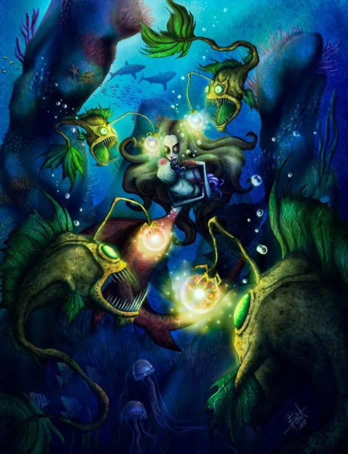 Artist Irureta gives his mermaids a witchy twist by having this mermaid practice dark magic while surrounded by vicious henchmen fish