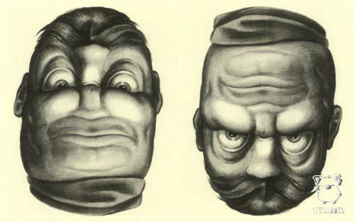 Contempt or rage? Rex whistler illustrates two emotions on the same face