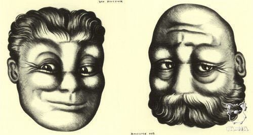 Rex Whistler shows a young and an old man on the same face in this optical illusion portrait