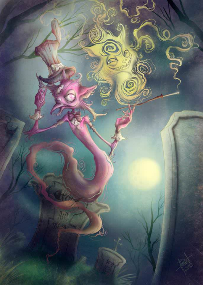 The Cheshire Cat and the Caterpillar from Alice in Wonderland seem twisted and bizarre in this fan art illustration by Irureta