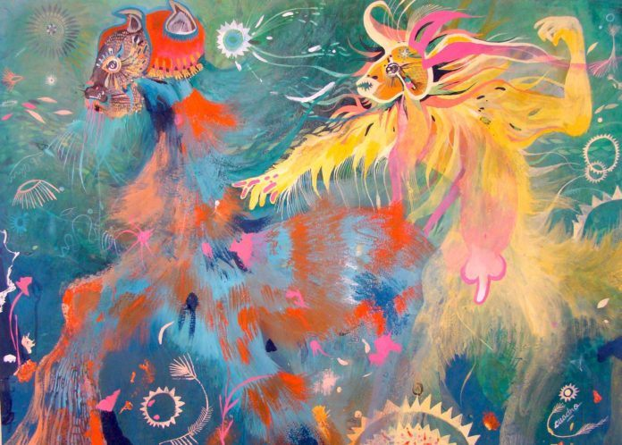 Wild beasts interact in this imaginative painting by Estela Cuadro