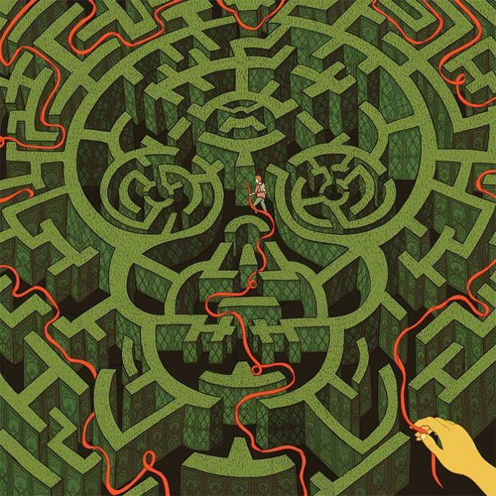 A clever hiker holds onto a guide rope while he navigates a skull shaped maze in this illustration by Jessica Fortner