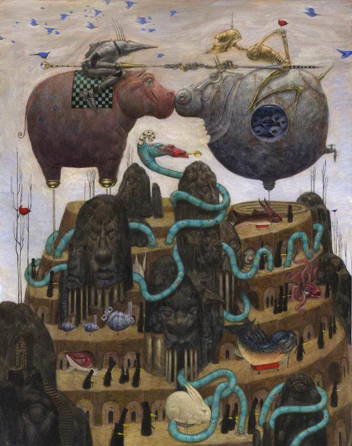 Bill Carman gives the fun idea of flying hippos a darker appeal in this surreal fantasy illustration