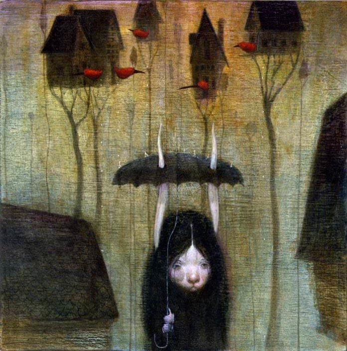 Bill Carman has given his halloween bunny girl character and umbrella to stay dry with while she walks through a bizarre horror neighbourhood