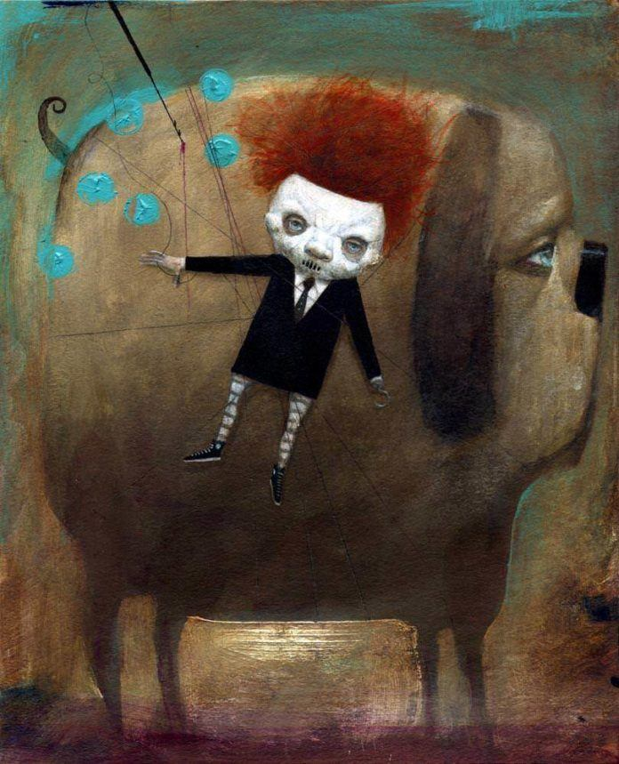 Spooky little horror child harpoons his pet dog - illustration by Bill Carman