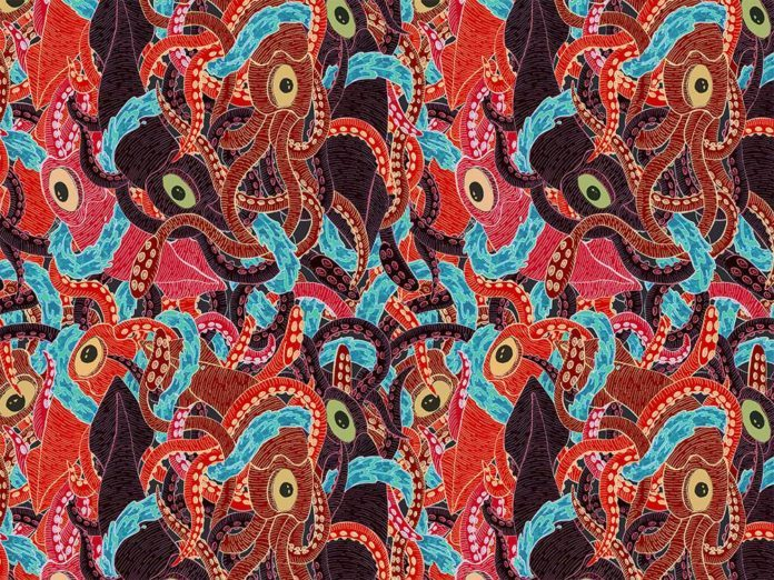 Squids get entangled in this illustration by Jessica Fortner that resembles an Escher drawing