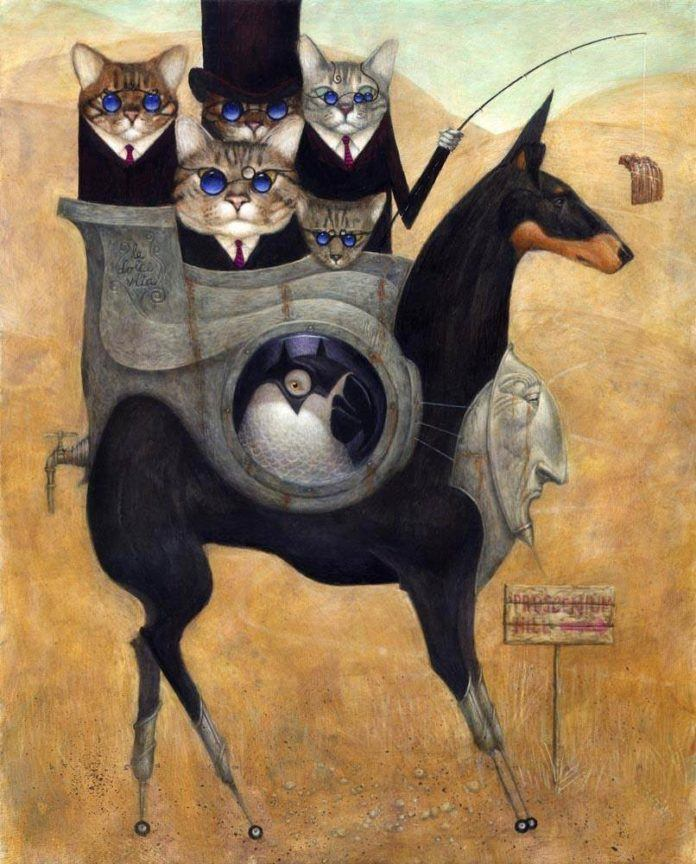 Stern mobster cats ride their horse dog in this funny but slightly disturbing painting by illustrator Bill Carman