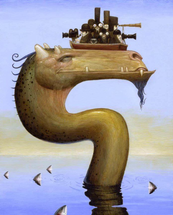 These intrepid explorers have no idea that they have already found the loch ness monster in shark infested waters - illustrations by Bill Carman