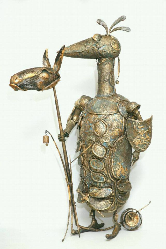 This funny sculpture by Andrey Drozdov features a humorous knight that is not quite on horse back, but close enough