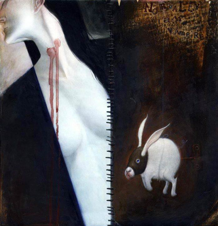Vampire horror bunny must havee gotten hungry just before Halloween in this creepy but cute illustration by Bill Carman