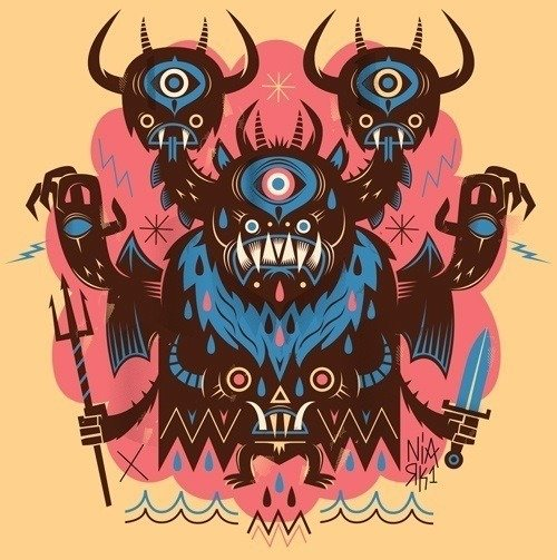 A monster warrior has three heads in this psycho illustration by French artist Niark1.