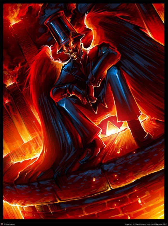 A skeletal winged magician looks out over an inferno in this richly saturated Photoshop painting by Dan Kitchener