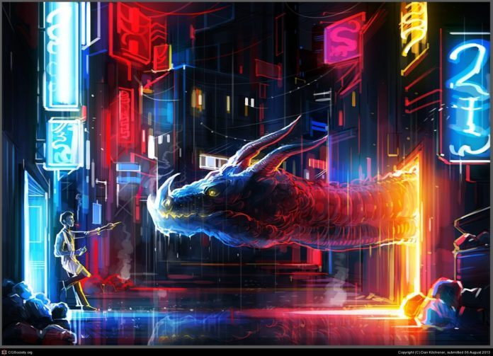 A smoker offers a cigarette to a friendly dragon in this fantasy Photoshop painting by Dan Kitchener