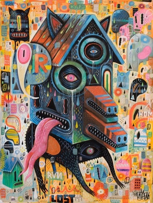 Artist Niark1 is in the doghouse in this colorful and mad painting