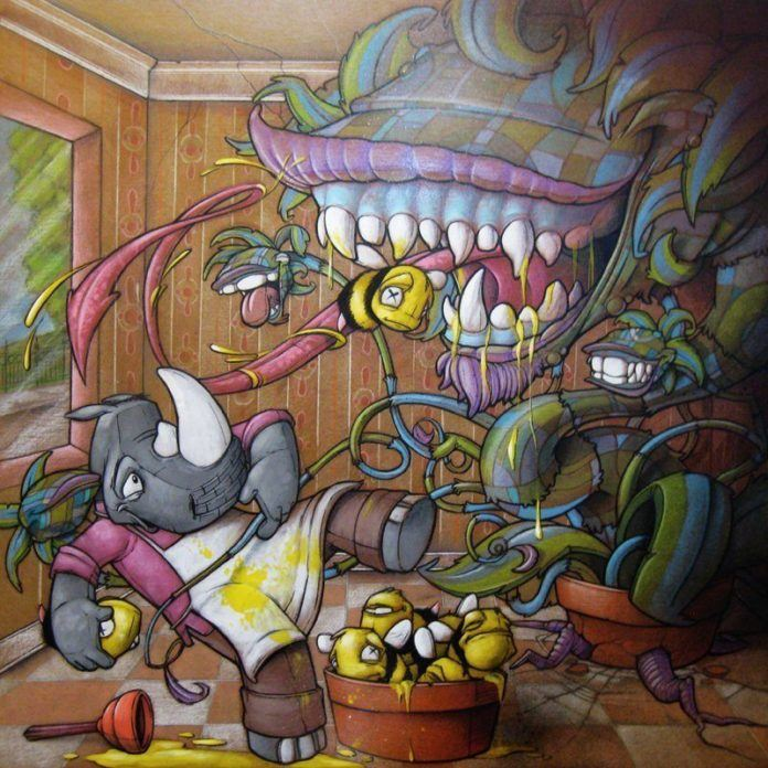 Cult horror film Little Shop of Horrors inspired this comic painting by graffiti and fine artist Scribe