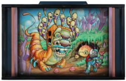 Donald Ross's graffiti influence can be seen in this cartoon painting of an alien monster and a psychedelic rhino astronaut