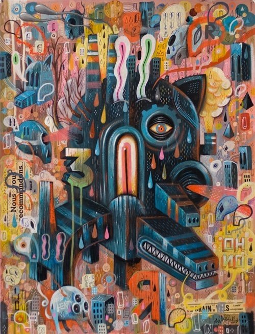 Niark1 creates a collage of creative ideas in this psychedelic monster painting