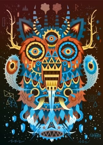 Nordic animals are the subjects of this wacky totem pole illustration by Niark1