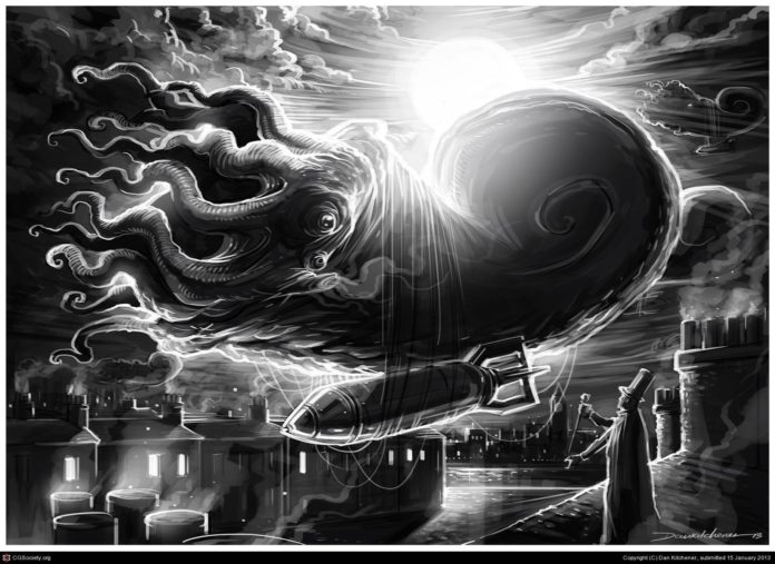 Not quite the Flying Spaghetti Monster, but Dan Kitchener's comic book style illustration of a flying bomber octopus is close enough