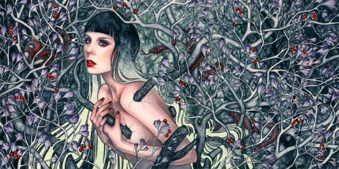 A dark forest filled with snakes and poisonous berries emerges from a woman's flesh in this gothic fantasy painting by Kelly McKernan
