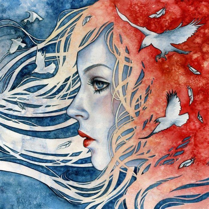 A girl dreams of flying in this watercolor painting by Kelly McKernan