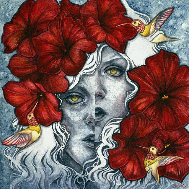A woman is torn asunder in this emotive watercolor painting by Kelly McKernan. The bright red flowers and hummingbirds belie this woman's angst.