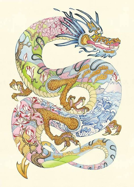 An Asian dragon holds its surroundings within it in the form of Japanese and Chinese ocean and forest designs.