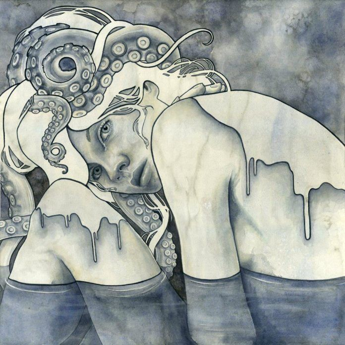 An octopus is tangled in the hair of this girl who belongs to the ocean Gods in this watercolor painting by Kelly McKernan