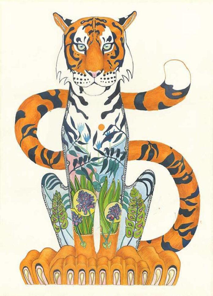 Daniel Mackie has exaggerated the paws of this Benghal tiger to create an friendly and yet pensive sense of proportion. It doesn't quite loom but it's close...