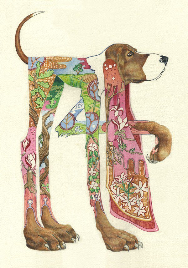 Daniel Mackie paints a domestic scene within this hound's body, showing that it a beloved pet rather than a wild beastie