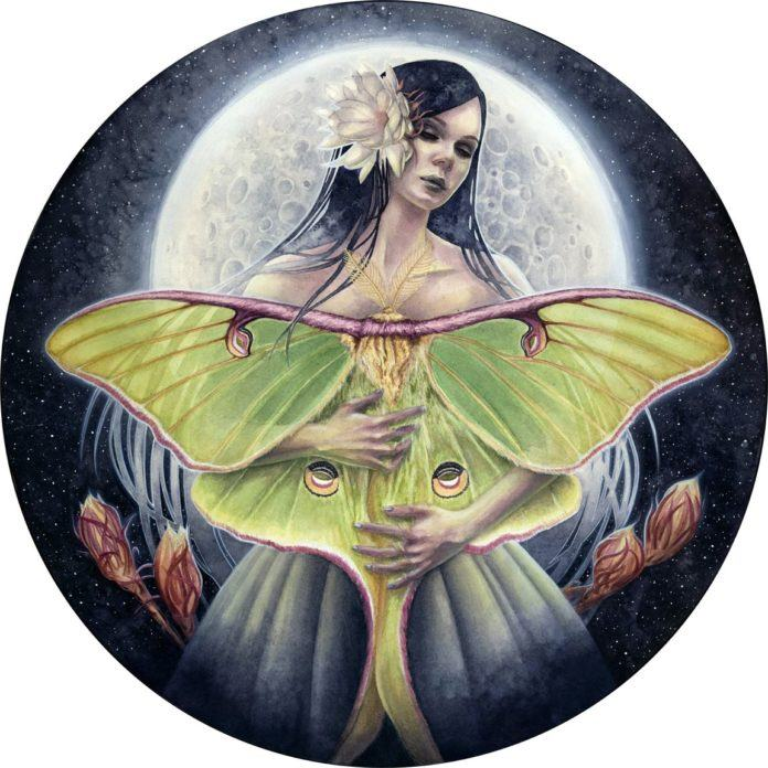 Kelly McKernan paints a watercolor women in this fantasy scene with a moth and the moon