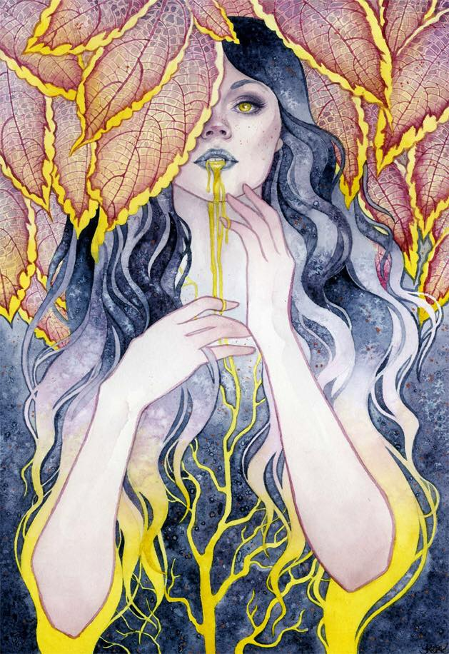 Liquid gold spills from the mouth of a mysterious maiden in this fantasy watercolor painting by Kelly McKernan