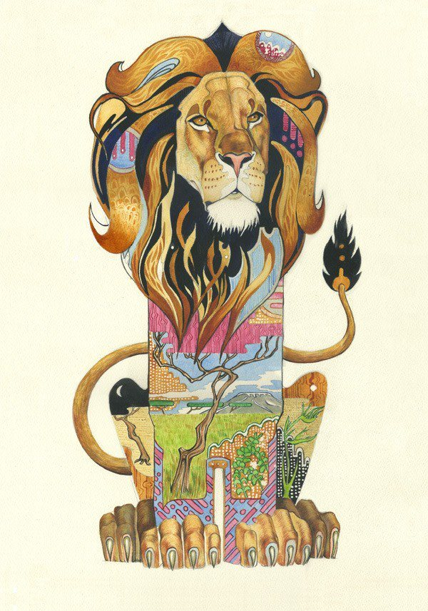 The African savannah fills this lion's heart in this beautiful watercolor painting by Daniel Mackie.