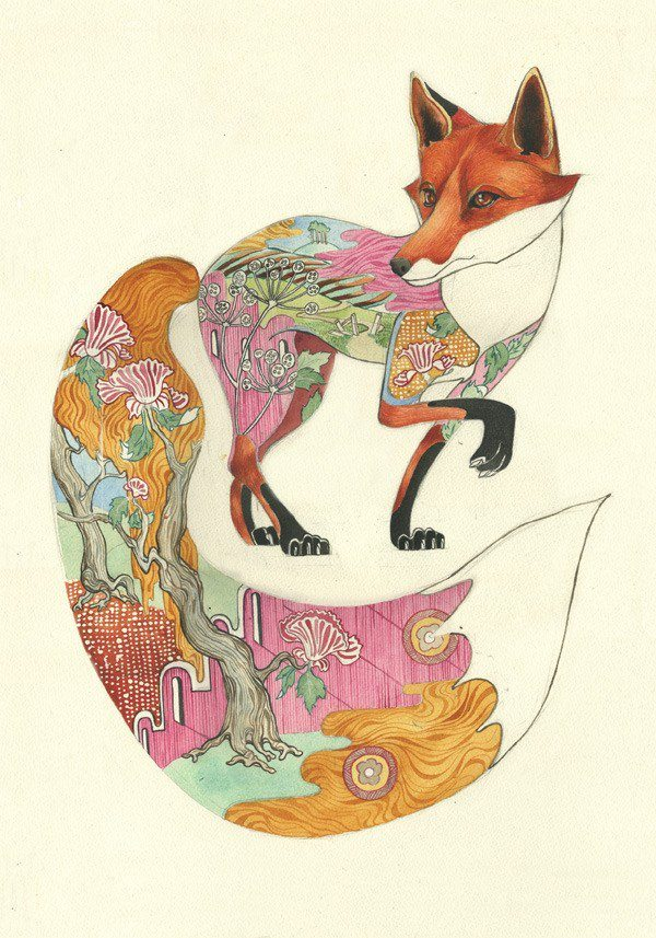 This fox's tail has been enlarged to create an interesting proprtion in this watercolor painting by Daniel Mackie.