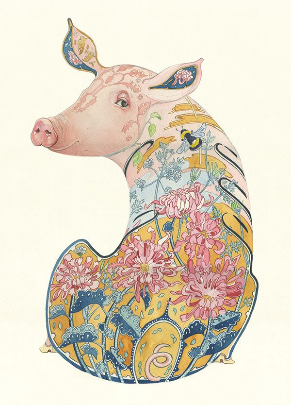 This painted pig by Daniel Mackie has a swampy pond and flowers drawn inside her instead of around her