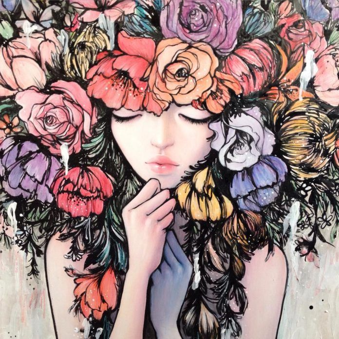 A vulnerable young woman poses with a headpiece of flowers in this mixed media painting by Stella Im Hultberg