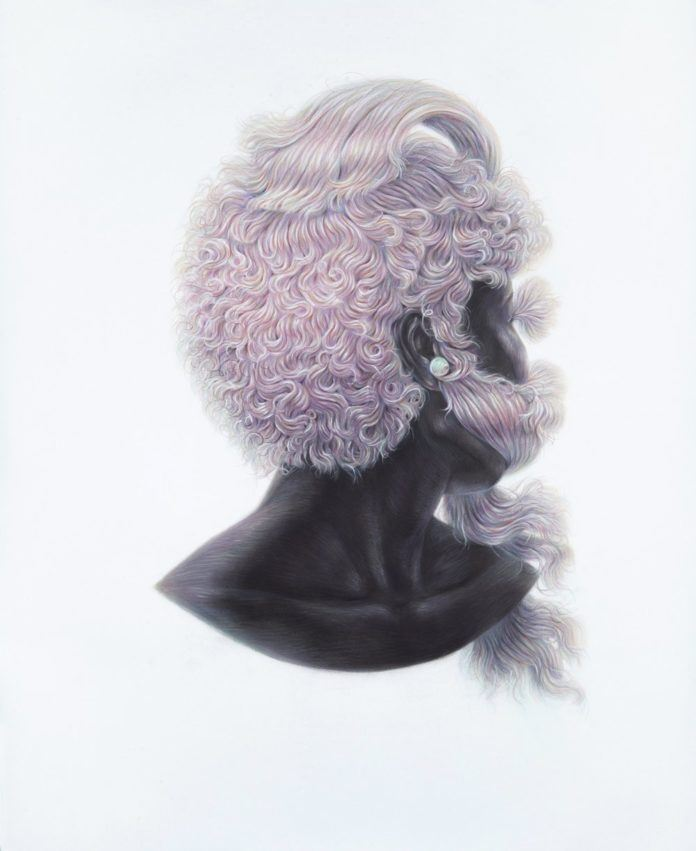 An African beauty hides her faces from the viewer in this pencil illustration by Winnie Truong