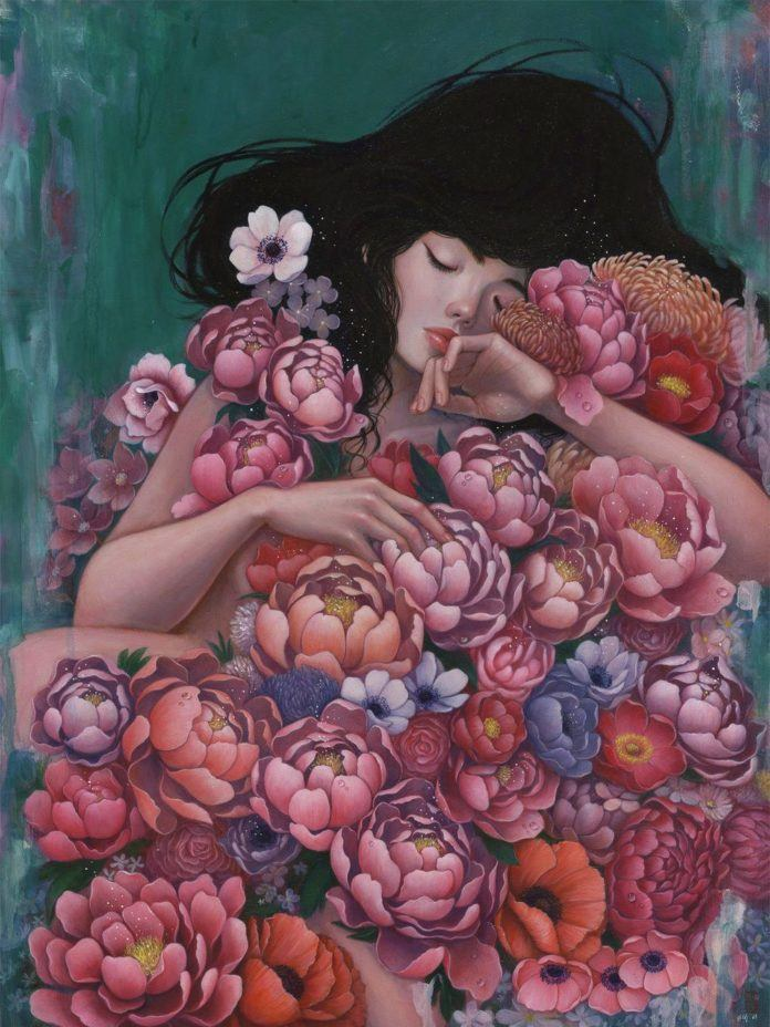 Artist Stella Im Hultberg has painted a pretty girl sleeping beneath a cover of beautiful flowers.