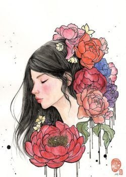 Colorful peony flowers surround this beautiful young woman in this mixed media painting by Stella Im Hultberg