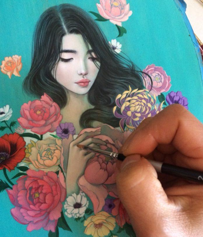 Here is artist Stella Im Hultberg using a fine point paintbrush in this small, highly detailed painting of a young Asian woman posing with bouquet of flowers