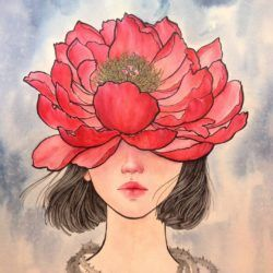 Stella Im Hultberg has used a massive peony bloom as part of this woman's head in this painting called Flowerhead