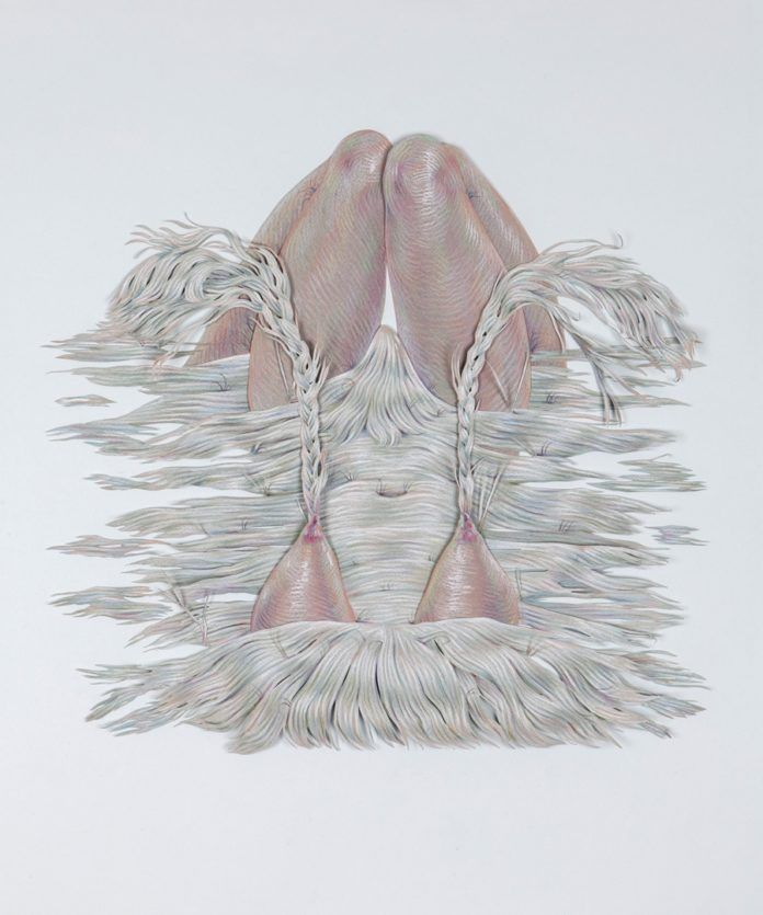 This pencil on paper by Winnie Truong shows the artist's use of soft pastel colors and hair textures